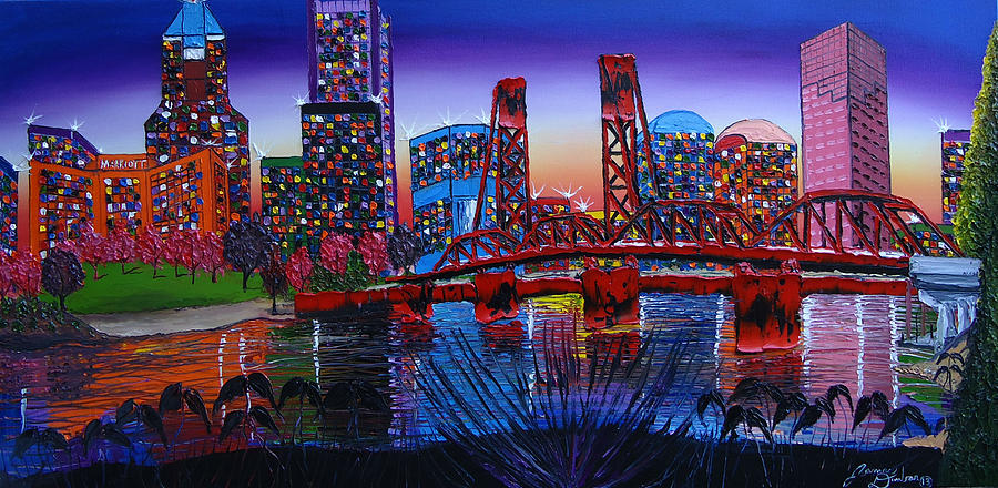 Portland City Lights 36 Painting By Dunbar S Modern Art
