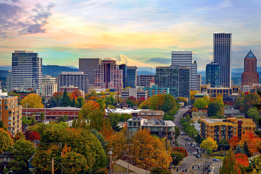 Portland Photograph - Portland Downtown Cityscape in the Fall by David Gn