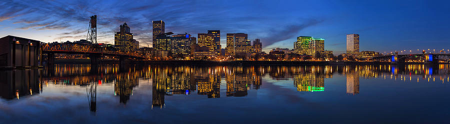 Portland Photograph - Portland Downtown Skyline At Blue Hour Panorama by David Gn