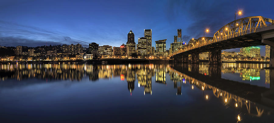 Portland Photograph - Portland Downtown Skyline By Hawthorne Bridge At Blue Hour Panor by David Gn