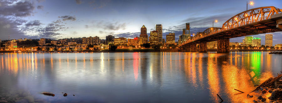Portland Photograph - Portland Downtown Skyline Night Panorama 2 by David Gn