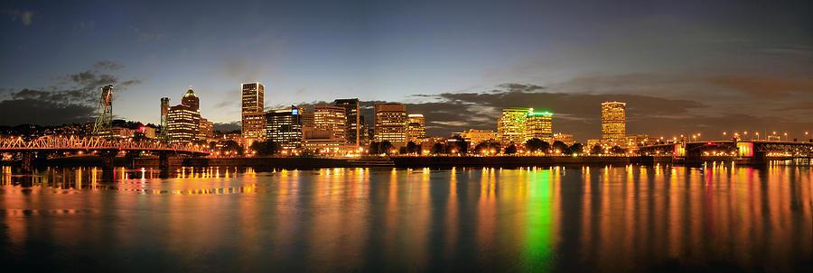 Portland Photograph - Portland Downtown Skyline Night Panorama by David Gn