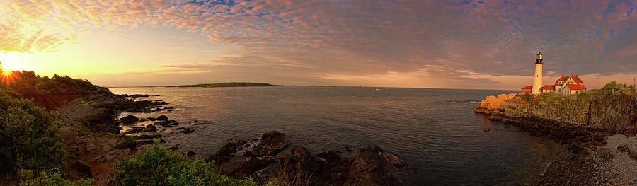 Portland Head Light 180 Degree Pano May Photograph by Www.cfwphotography.com