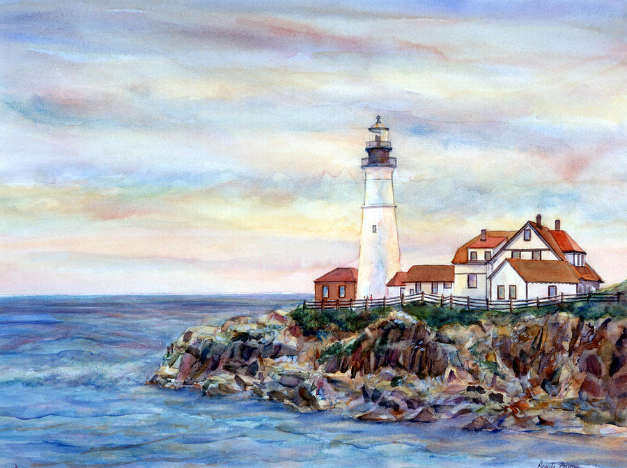 Portland Head Light Painting - Portland Head Light In Maine by Pamela Parsons