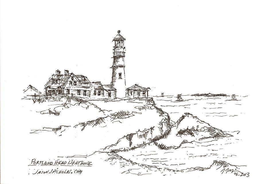 Lighthouse Drawing - Portland Head Light by Jason Nicholas