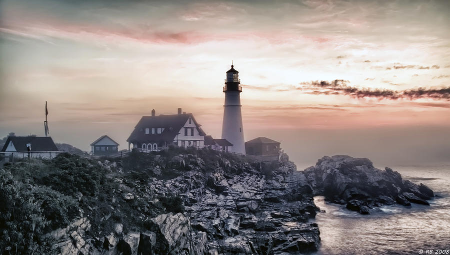 Architecture Photograph - Portland Head Light Summer Sunrise by Richard Bean