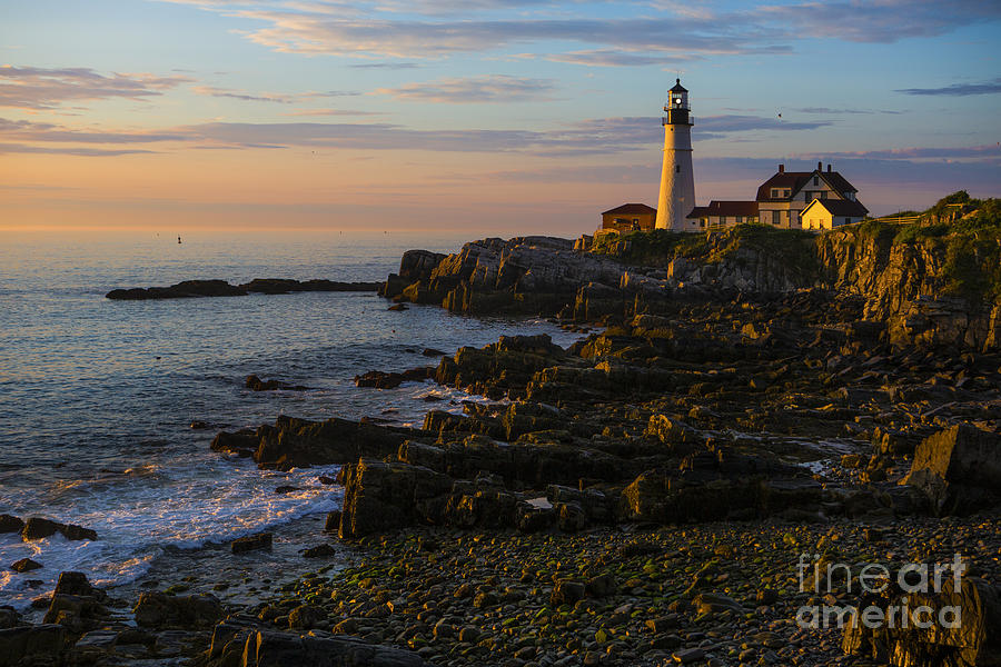 Portland Head Lighthouse Photograph - Portland Head Lighthouse At Dawn by Diane Diederich