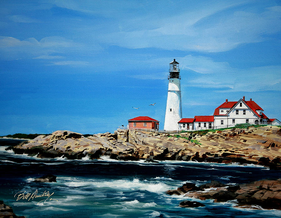 Lighthouse Painting - Portland Head Lighthouse by Bill Dunkley