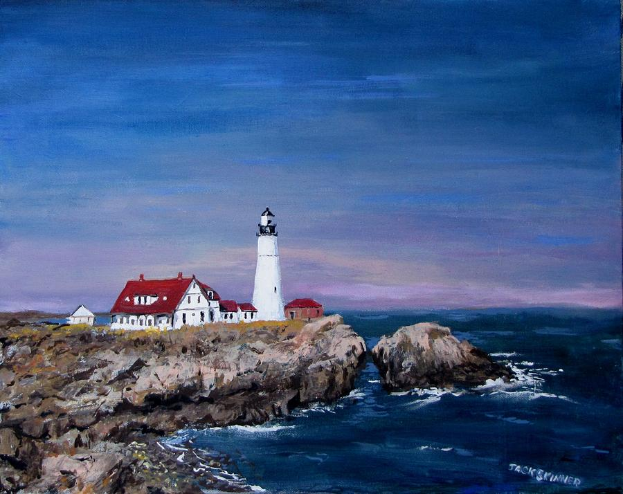 Lighthouse Painting - Portland Head Lighthouse by Jack Skinner