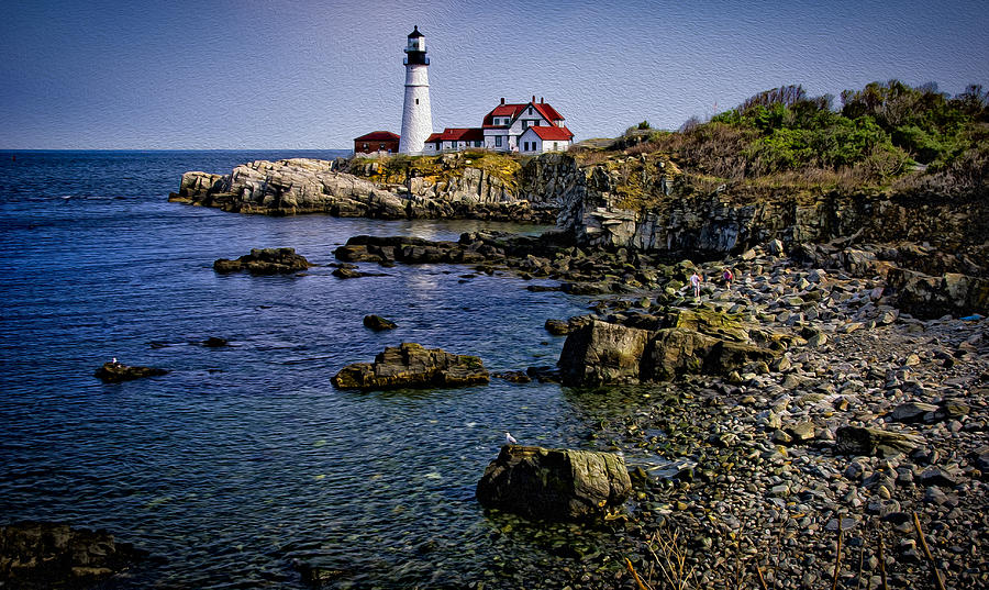 Portland Headlight 37 Oil Photograph