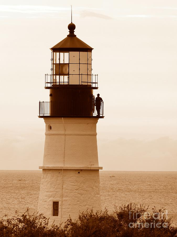 Portland Photograph - Portland Headlight Tower On Open Lighthouse Day In Sepia by Christine Stack