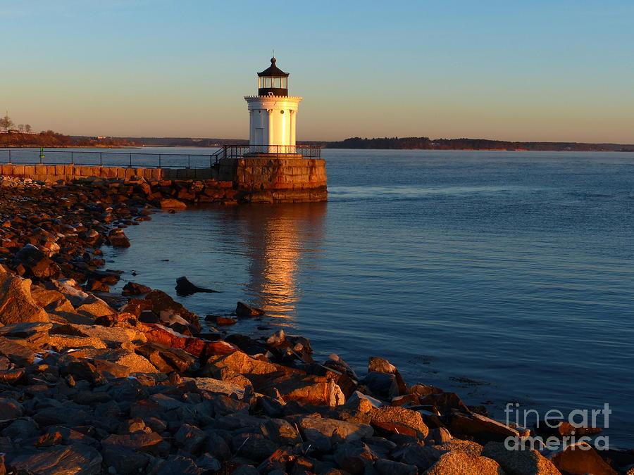 Sunrise Photograph - Portland Ledge Lighthouse Bug Light Morning Light Reflection Curve by Christine Stack