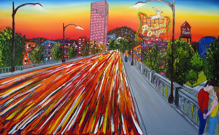 City Bridges Painting - Portland Love by Portland Art Creations
