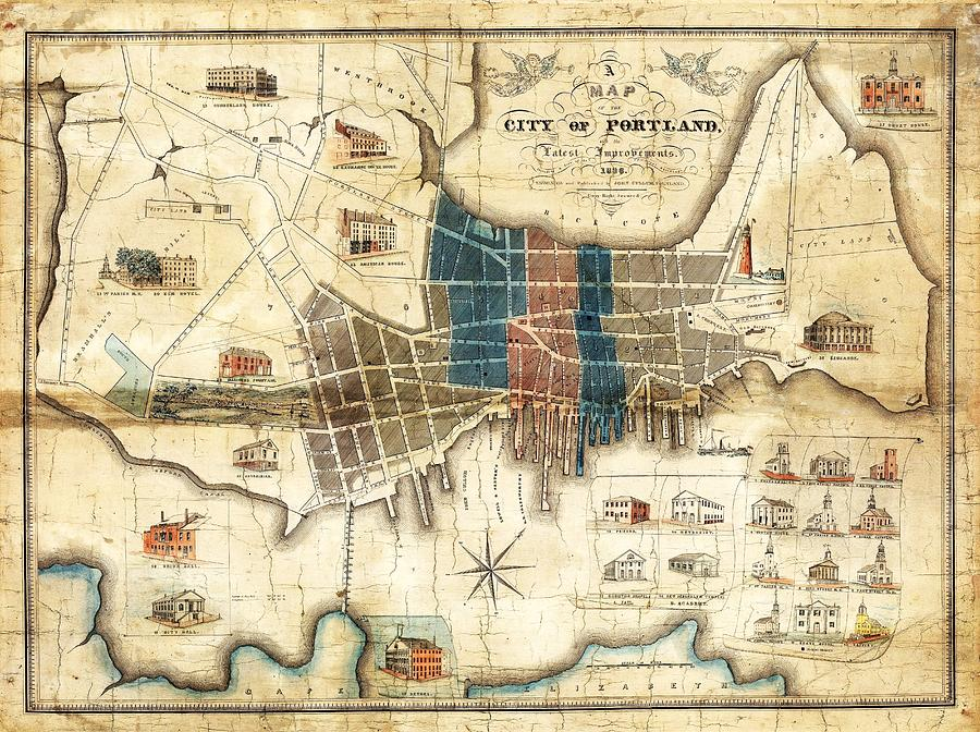 Portland Maine 1836 Map By John Cullum Photograph By Tim