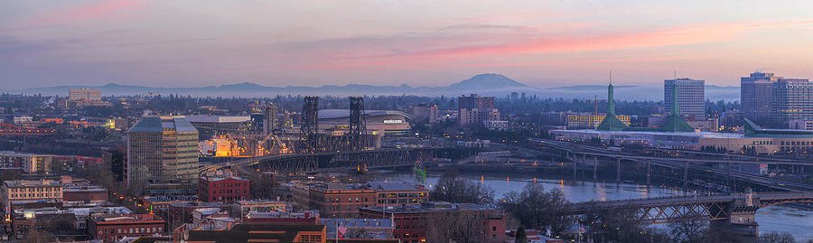 Portland Photograph - Portland Oregon And Mt St Helens During Sunrise by David Gn