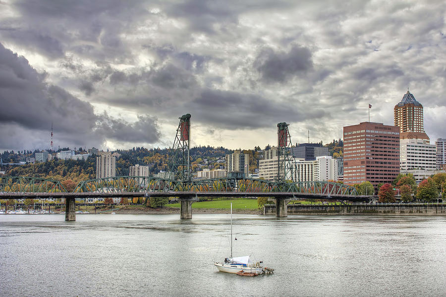 Portland Photograph - Portland Oregon Downtown Along Willamette River by David Gn