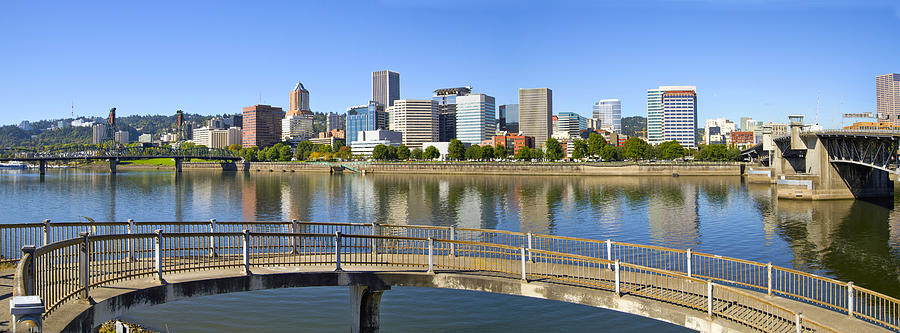 Portland Photograph - Portland Oregon Downtown Skyline Panorama 2 by David Gn