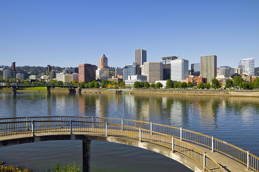 Portland Photograph - Portland Oregon Downtown Skyline Reflection 4 by David Gn