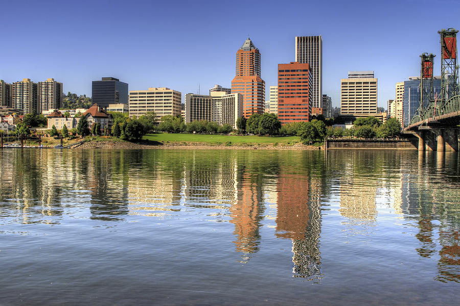 Portland Photograph - Portland Oregon Downtown Skyline Reflection by David Gn