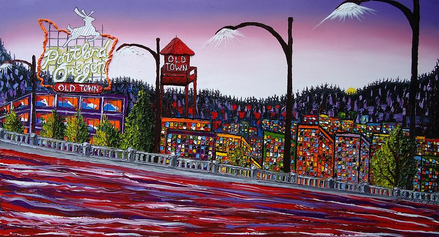 City Bridges Painting - Portland Oregon Sign 12 by Portland Art Creations