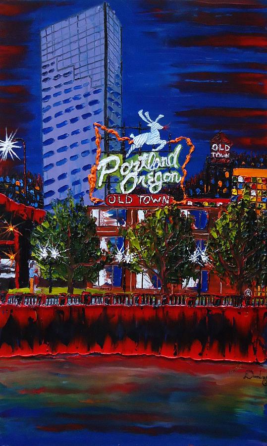 Portland City Lights Painting - Portland Oregon Sign 15 by Portland Art Creations