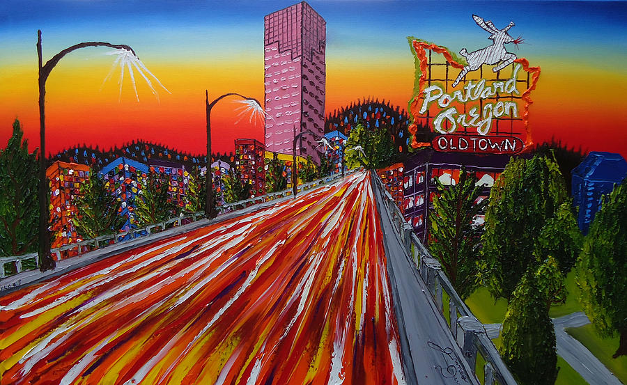 Portland Oregon Sign 16 Painting by Portland Art Creations