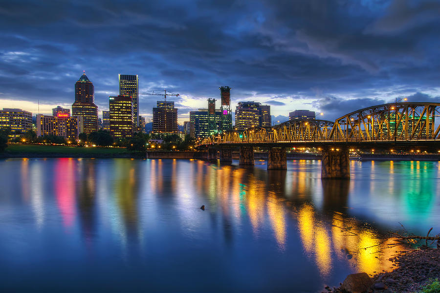 Portland Photograph - Portland Oregon Waterfront At Blue Hour by David Gn