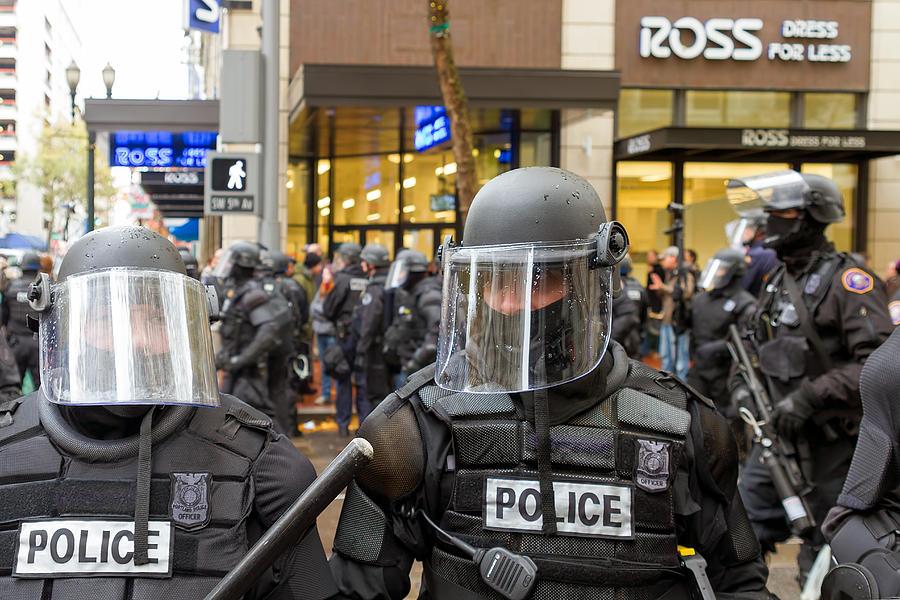 Portland Photograph - Portland Police In Riot Gear Closeup by Jit Lim