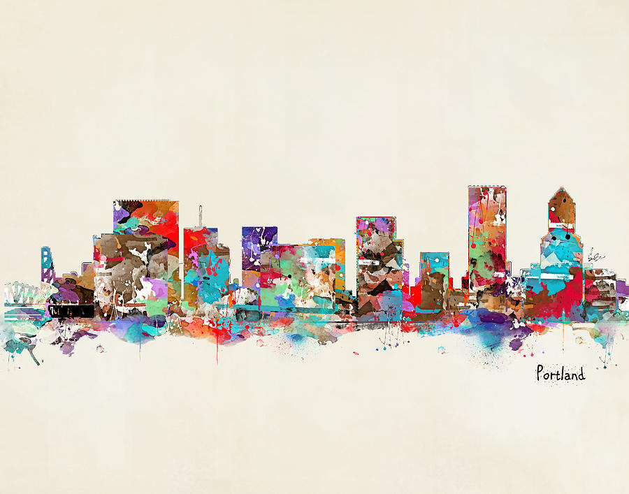 Portland Oregon Painting - Portland Skyline Oregon by Bri Buckley
