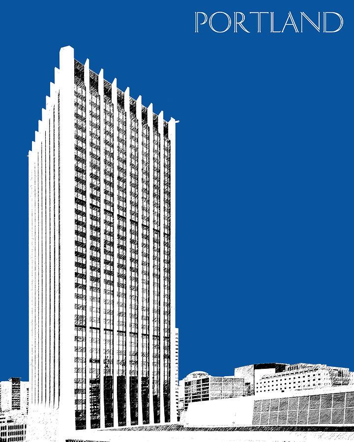 Architecture Digital Art - Portland Skyline Wells Fargo Building - Royal Blue by DB Artist