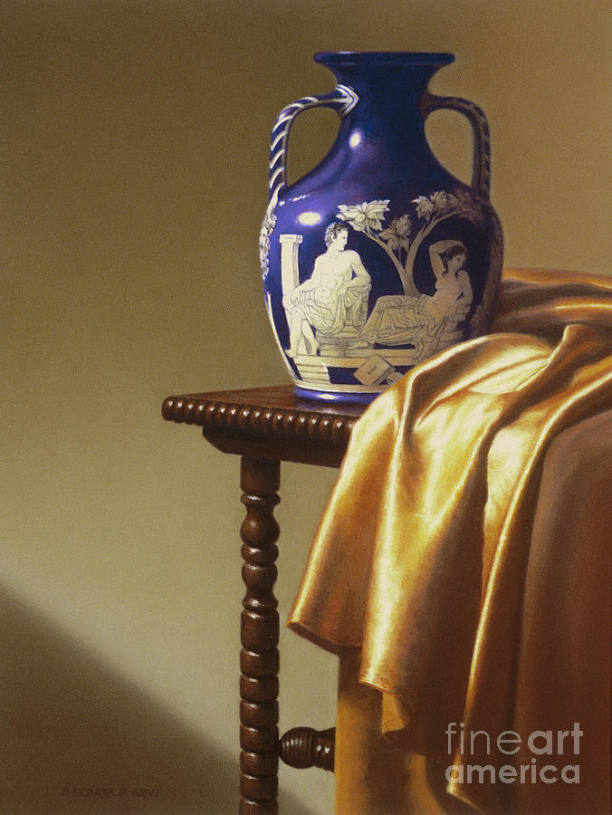 Still Life Painting - Portland Vase With Cloth by Barbara Groff