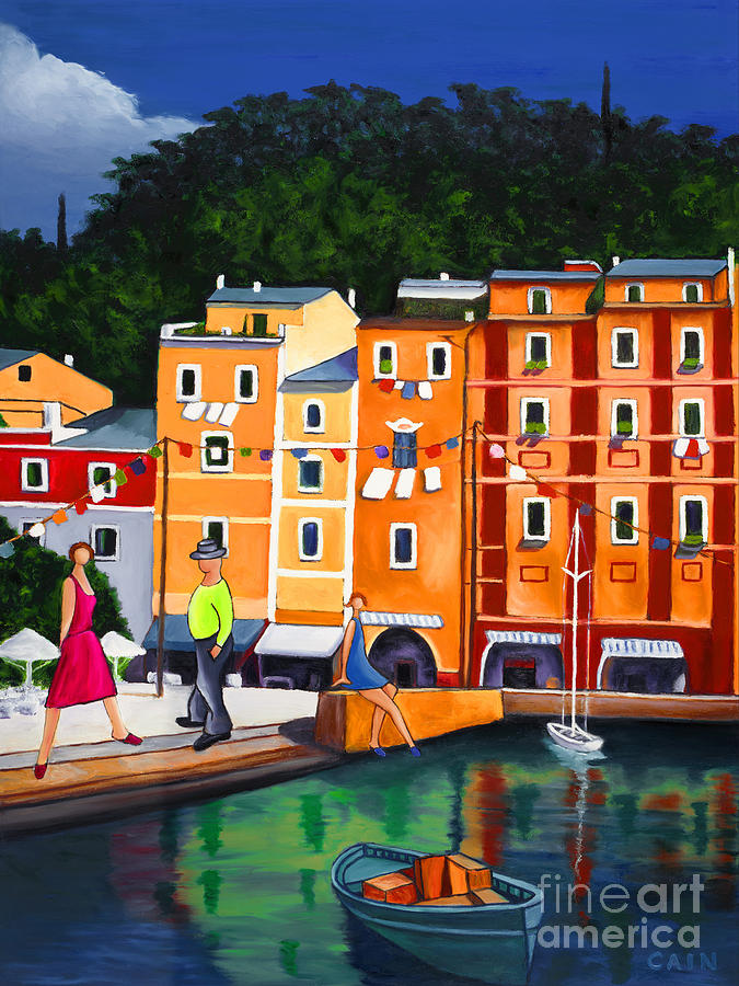 Large Art Print Painting - Portofino Art Print by William Cain