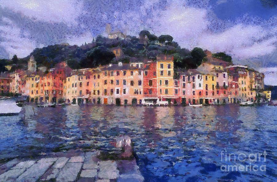 Portofino Painting - Portofino In Italy by George Atsametakis