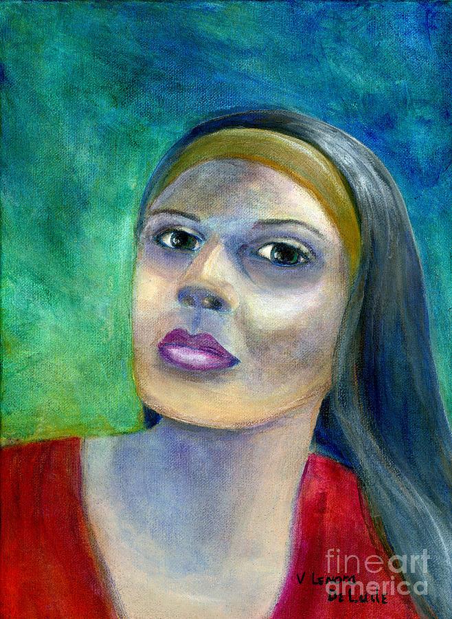 Portrait Painting - Portrait Art Woman in Red by Lenora  De Lude