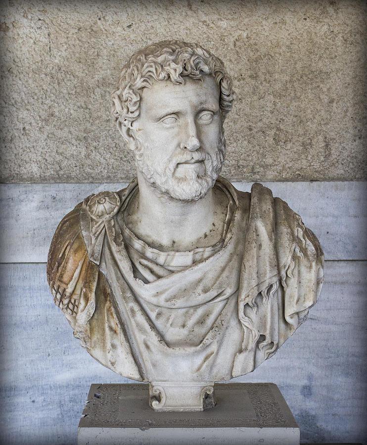 Bust Photograph - Portrait Bust Of The Emperor Antoninus Plus by Radoslav Nedelchev