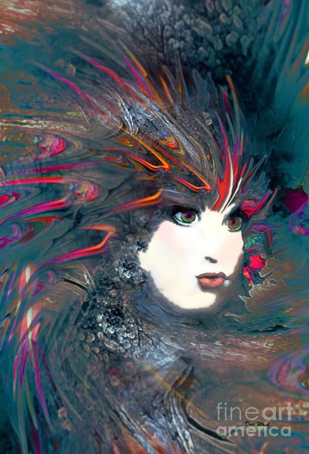 Digital Digital Art - Portrait Of A Flamboyant Woman by Doris Wood