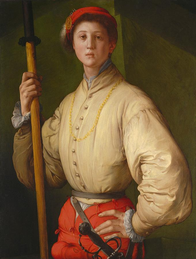 California Painting - Portrait Of A Halberdier by Jacopo Pontormo