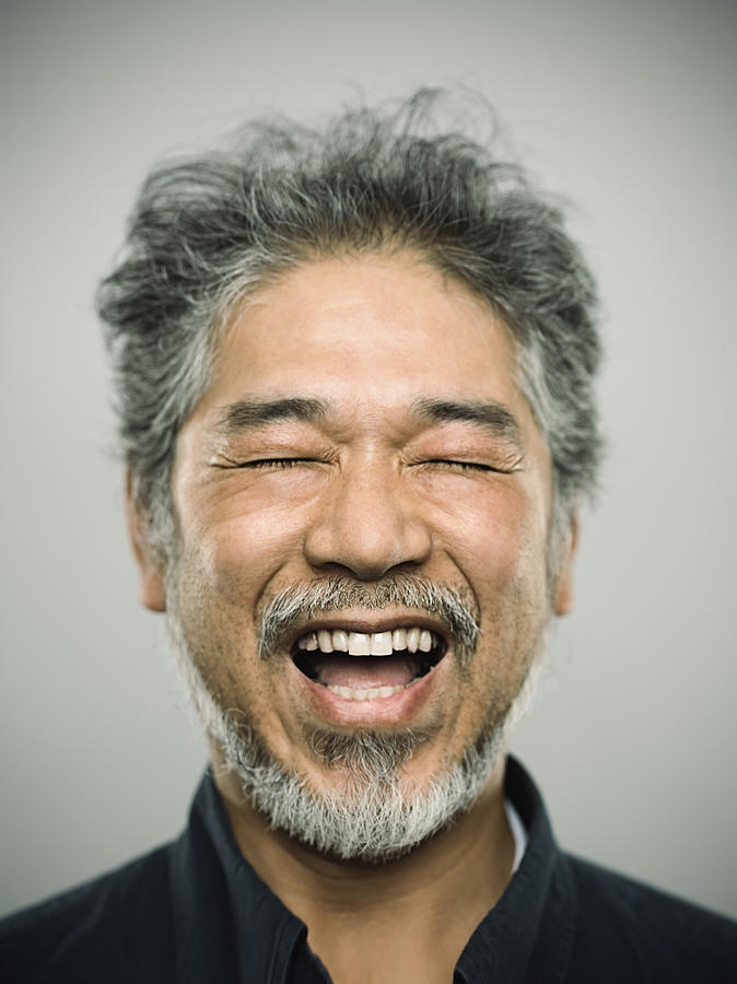 Portrait Of A Happy Real Japanese Man With Grey Hair. Photograph by SensorSpot