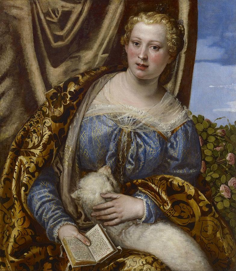 Cinquecento Painting - Portrait Of A Lady As Saint Agnes by Paolo Veronese