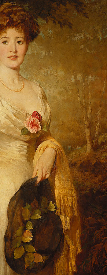 British Painting - Portrait Of A Lady In A White Dress by George Elgar Hicks