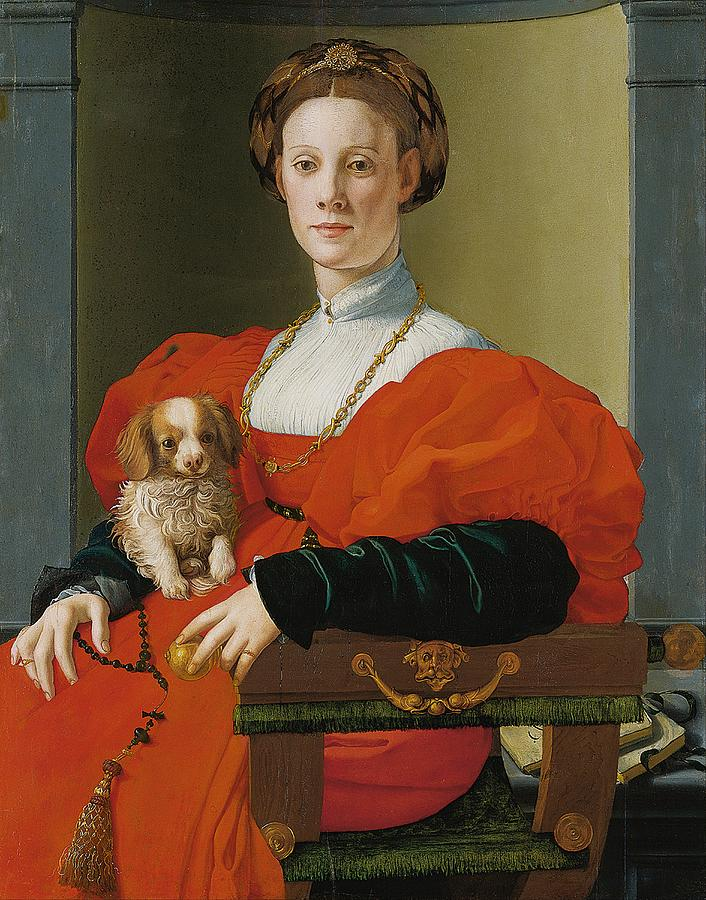 Cinquecento Painting - Portrait Of A Lady With A Lapdog by Jacopo Pontormo