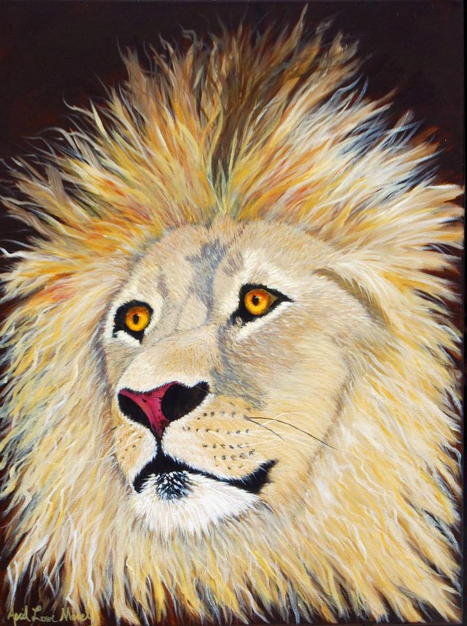 Lion Painting - Portrait Of A Lion by April Moseley