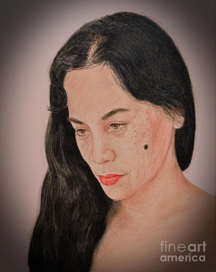 Portrait Of A Long Haired Filipina Beautfy With A Mole On Her Cheek Fade To Black Version