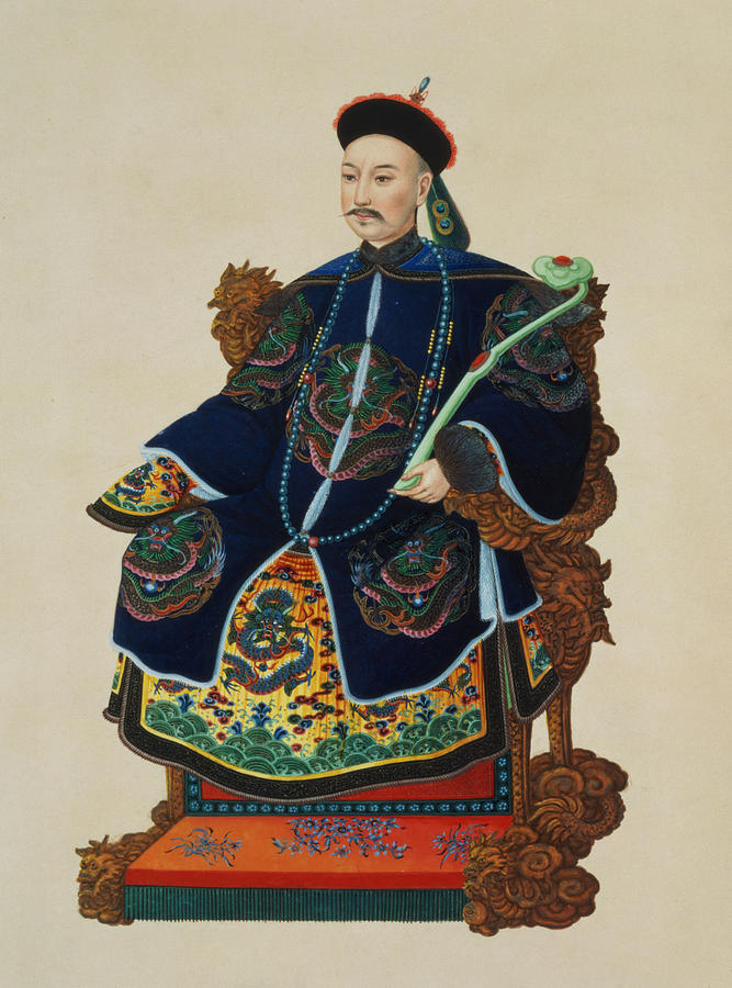 Male Painting - Portrait Of A Mandarin by Chinese School