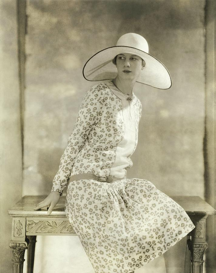 Portrait Of A Model Wearing A Wide Brimmed Hat Photograph by Charles Sheeler