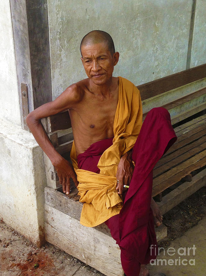 Portrait of a Monk from Monastery for Orphans near Shwenandaw Kyaung Mandalay Burma by PIXELS  XPOSED Ralph A Ledergerber Photography
