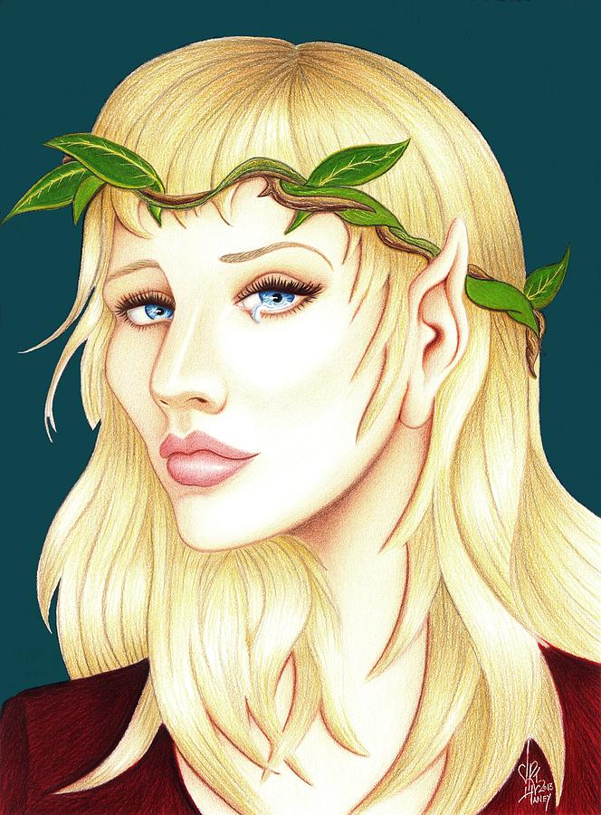 Elf Drawing - Portrait Of A She Elf by Danielle R T Haney