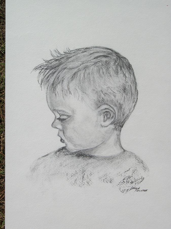 Charcoal Drawing - Portrait Of A Young Boy by Paula Rountree Bischoff