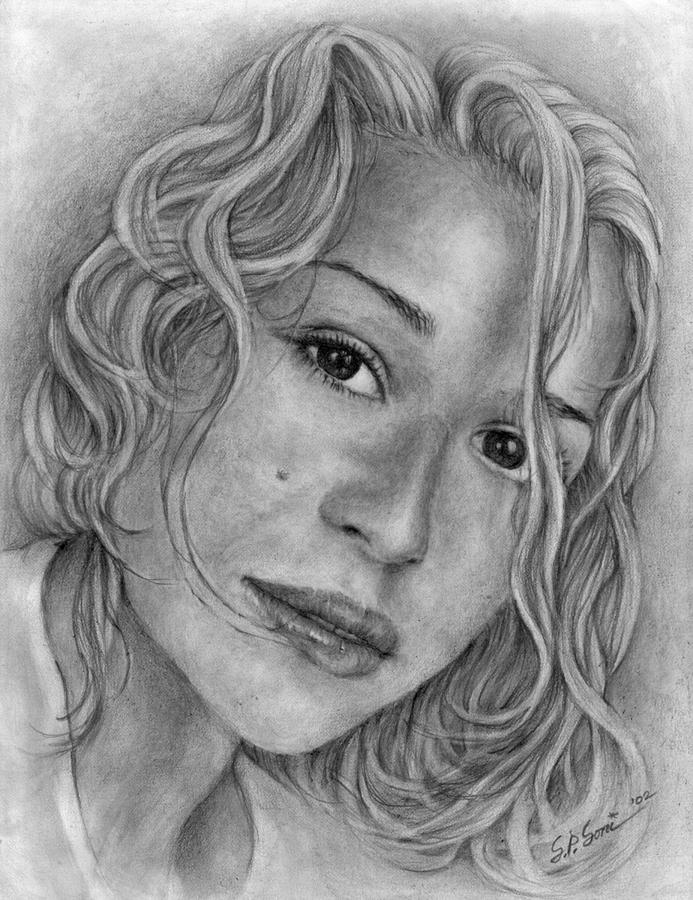 Portrait drawing of young girl, wife teasing pictures