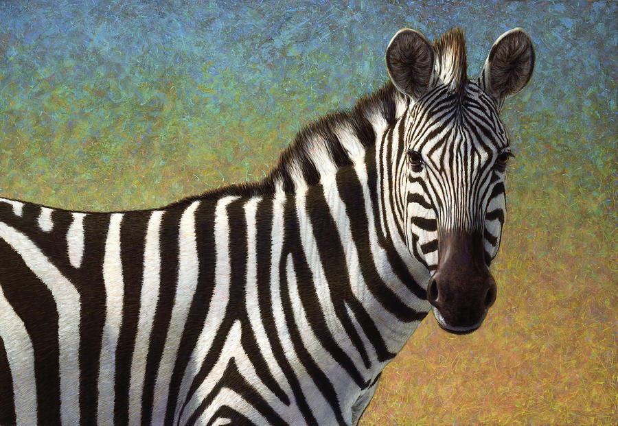 Zebra Painting - Portrait Of A Zebra by James W Johnson
